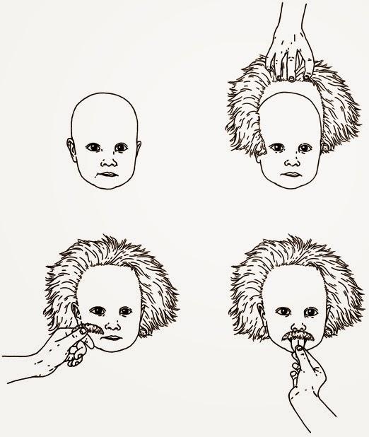 Niño disfrazado de Einstein