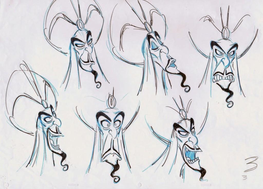 Expresiones de Jafar en Aladdin por Andreas Deja
