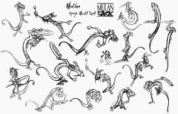 Posiciones y expresiones de Mushu en Mulán por Tom Bancroft