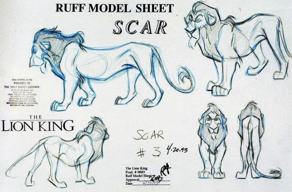 Concept art de Andreas Deja para Scar en El Rey León