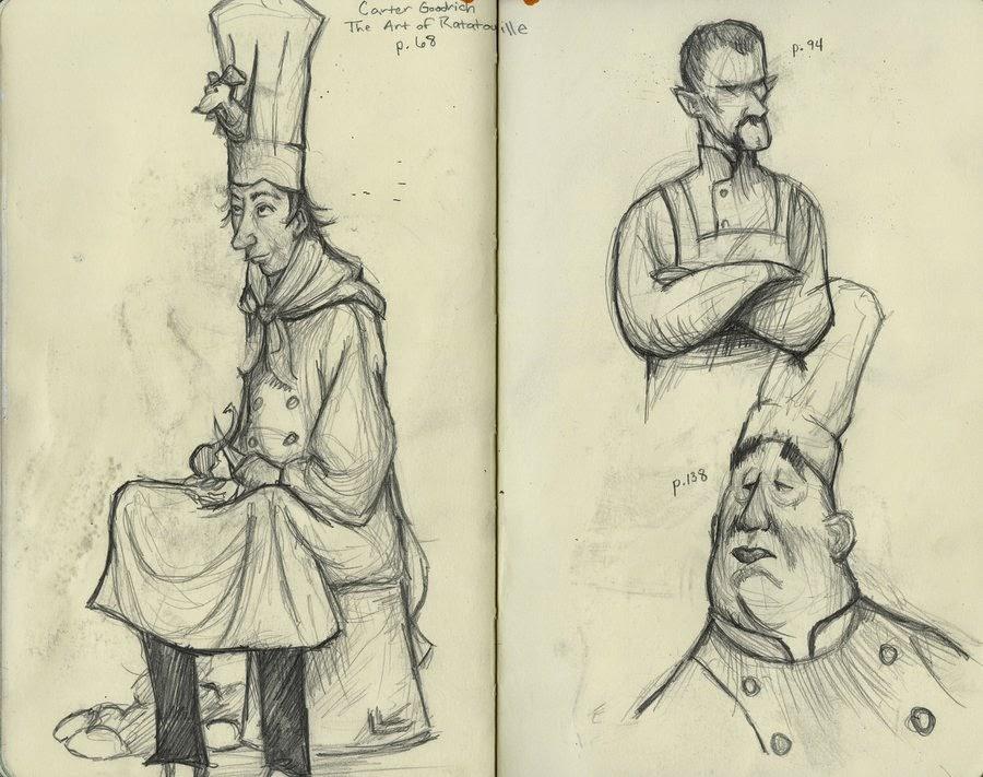 Bocetos de los personajes de Ratatouille por Carter Coodrich
