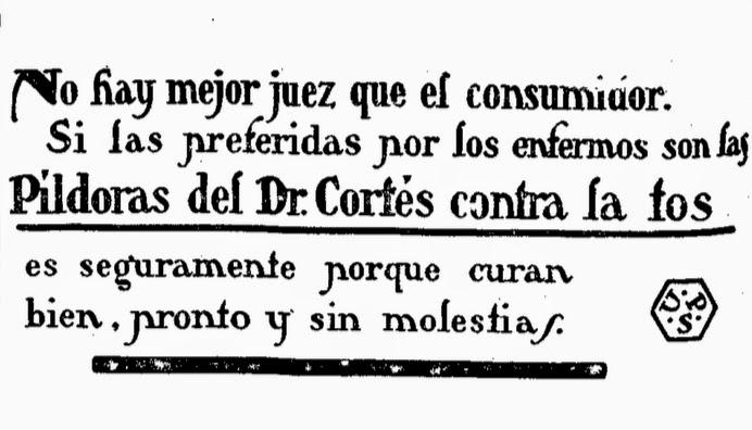 Antiguo anuncio Píldoras del Doctor Cortés contra la tos
