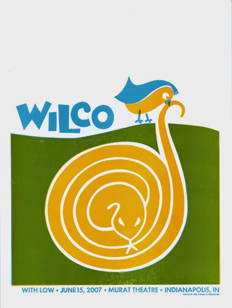 Gig poster diseñado por Dirk Fowler para Wilco