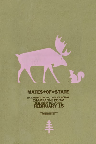 Gig poster diseñado por Dirk Fowler para Mates of State