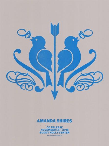 Gig poster diseñado por Dirk Fowler para Amanda Shires