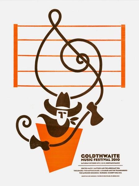 Gig poster diseñado por Dirk Fowler para Coldthwaite Music Festival