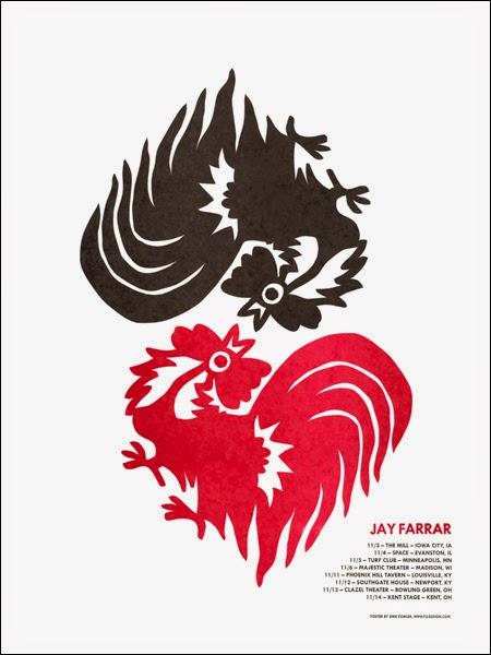 Gig poster diseñado por Dirk Fowler para Jay Farrar