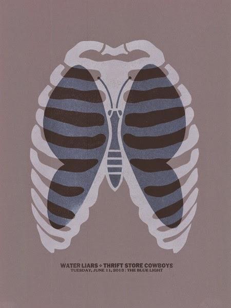 Gig poster diseñado por Dirk Fowler para Water Liars