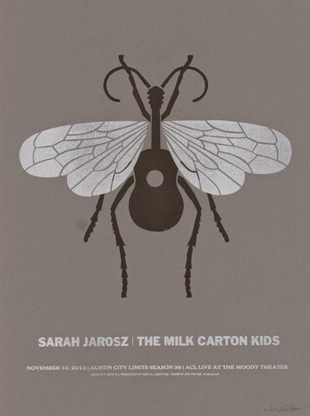 Gig Poster diseñado por Dirk Fowler para Sarah Jarosz y The Milk Carton Kids