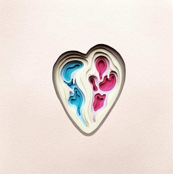 Interior del corazón de papel de Polly Lindsay