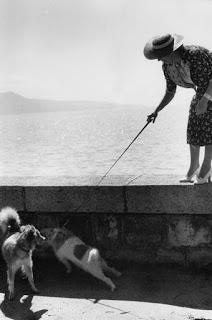 Simpático instante de una señora con su perro (Paul Almàsy)