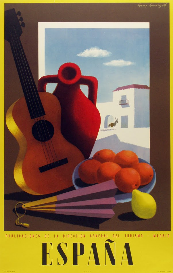 Guitarra y abanico con pueblo blanco