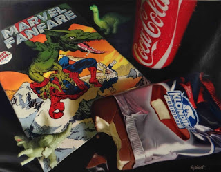 Marvel, Coca-Cola y dulce de chocolate.